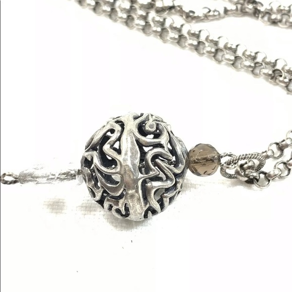 SILPADA Jewelry Retired ~ Sterling Silver Ball /& Leather Necklace